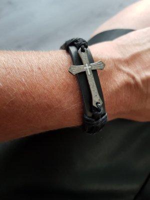 Lederen armband zwart-zilver