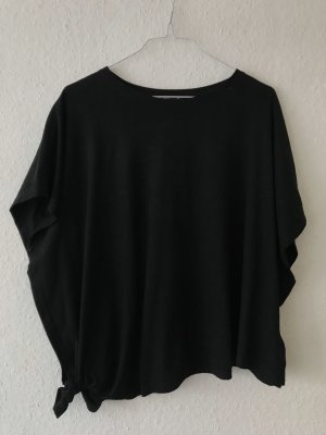 Bershka Cowl-Neck Shirt black imitation leather