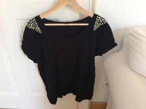 Schwarzes Leinen- Shirt mit Schmucksteinen