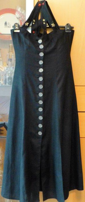 Schwarzes Leinen-Trachtenkleid lang, auch als Dirndl tragbar