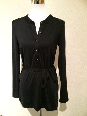 schwarzes Longshirt / Longbluse / Blusenshirt mit goldenen Knöpfen - Gr. M