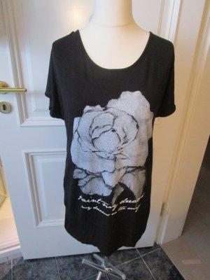 schwarzes Longshirt mit großem Blütendruck mit Strass