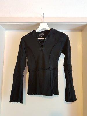 Schwarzes Longshirt mit Zipfelkapuze - Gothic, Mittelalter