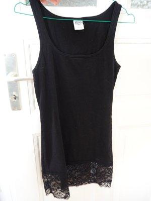Schwarzes Longtop / Unterkleid mit Spitze am Saum