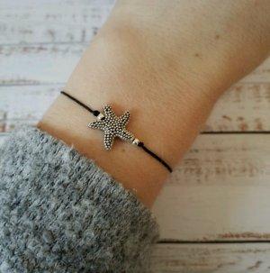 schwarzes Makramee Armband mit silbernem Seestern NEU und größenverstellbar