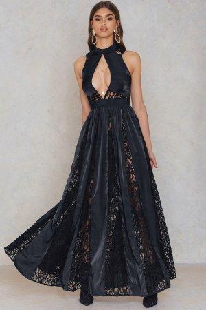 Schwarzes Maxi Kleid mit Spitze