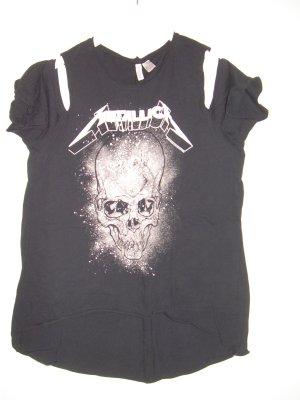 schwarzes Metallica T-Shirt von H&M Gr. L 42 Cut Outs an Schultern