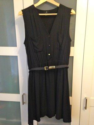 schwarzes Midi-/Blusenkleid mit Gürtel, H&M