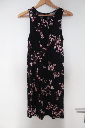 Schwarzes Midi Kleid mit Blumenmuster