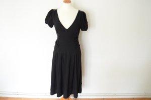 schwarzes Midi Kleid mit Schleifen Gürtel