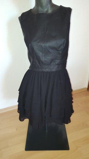 schwarzes Mini Kleid mit Tüll Rock und Ledertop