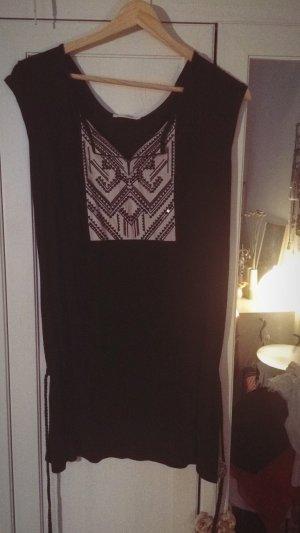 Schwarzes Mini Kleid/ Oberteil mit ethno Bestickung