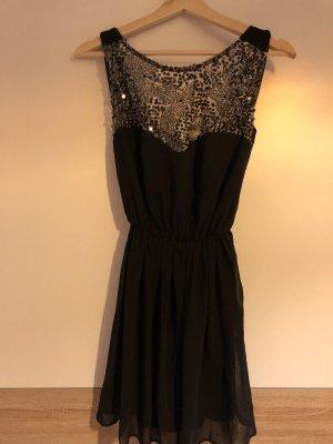 Atmosphere Mini vestido negro-color plata