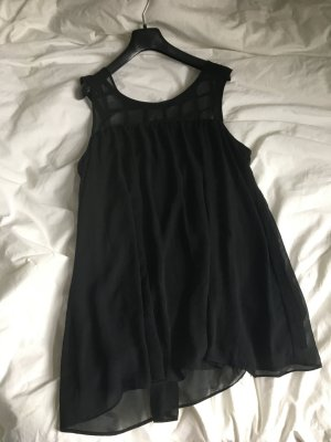 Schwarzes minikleid Mini Kleid schwarz hängerchen locker fallend Chiffon Party Festival Trend Rückenausschnitt Gitter