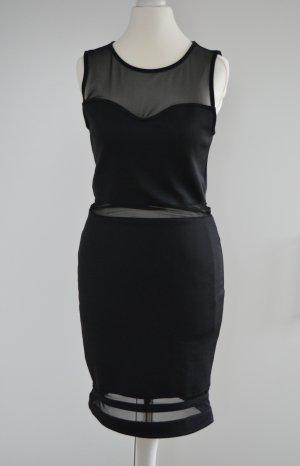 schwarzes Minikleid mit Mesh-Einsätzen