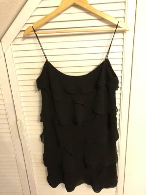 Schwarzes Minikleid mit Rüschenlagen