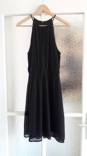 Schwarzes Minikleid mit Schlüsselloch-Dekollté
