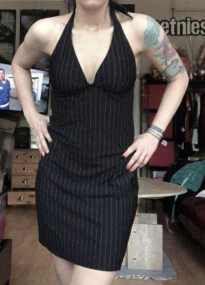 Schwarzes Nadelstreifen Kleid Neckholder S/M