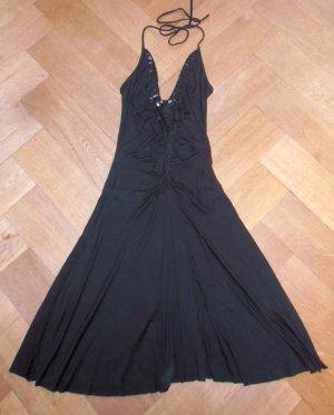 Schwarzes Neckholderkleid mit Pailletten, Gr.S, Midilänge