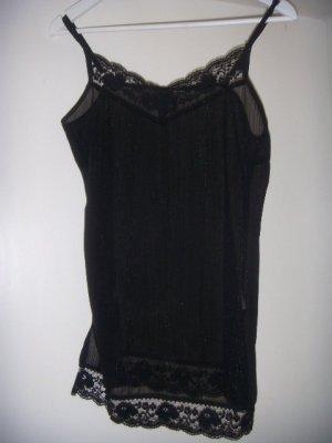 Schwarzes Negligé / Top mit Spitze und silbernen eingewebten Fäden