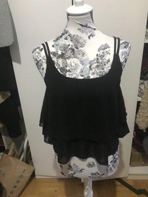 Schwarzes Oberteil Bluse Shirt crop top Sommer kurz luftig