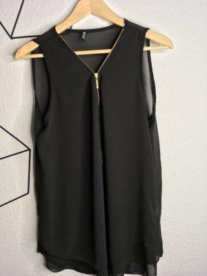 Mouwloze blouse zwart
