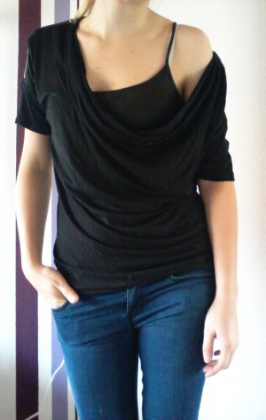 Colours of the World Cowl-Neck Shirt black