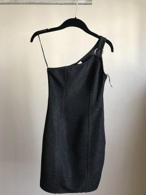 H&M Vestido de un hombro negro-color plata