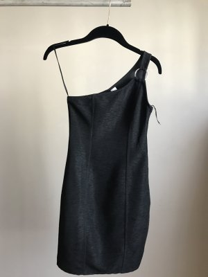 H&M Eénschouderjurk zwart-zilver