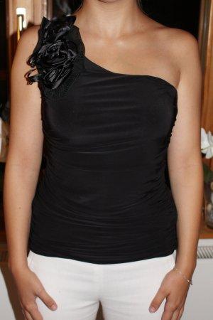 Schwarzes One-Shoulder Oberteil mit Blume