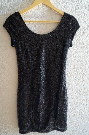 schwarzes Pailettenkleid mit Rückenausschnitt *S*
