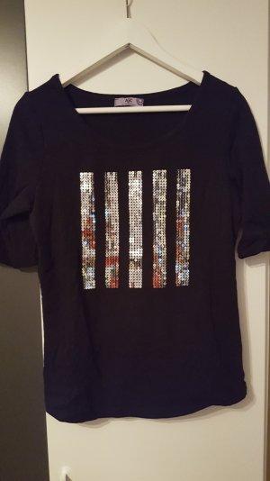 Schwarzes Pailletten Shirt AJC