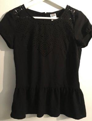 Schwarzes Peplum-Shirt mit Cut-Outs