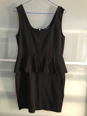 Amisu Vestido peplum negro-color plata