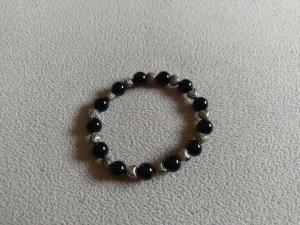 Schwarzes Perlensteinarmband, Silber