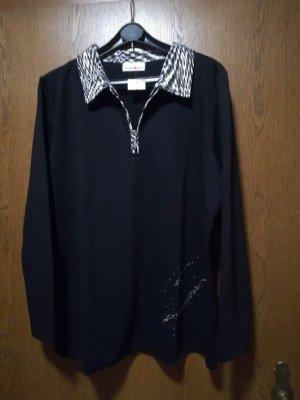 Helena Vera Camiseta tipo polo negro-blanco