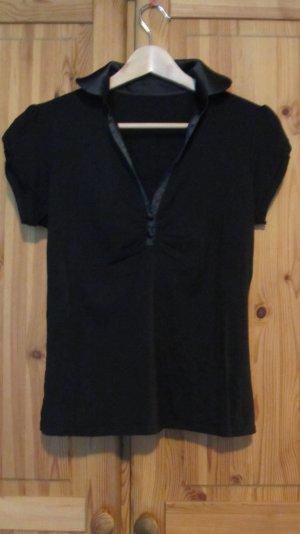 Schwarzes Poloshirt von Orsay, Satinkragen – Gr. 38