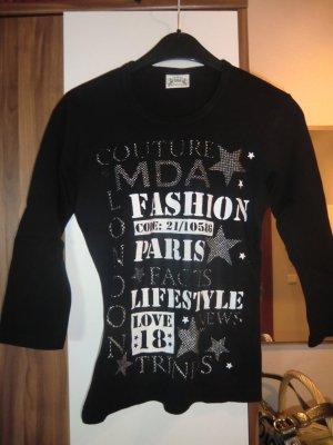schwarzes Printshirt mit 3/4-Arm