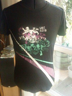 schwarzes Printshirt mit metallicfarbenen Streifen von VJ Größe S