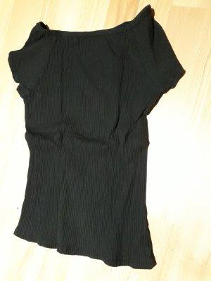 Schwarzes Ripp-Shirt in Kurz