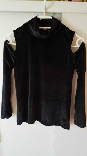 schwarzes Rollkragenoberteil aus Samt mit CutOuts an den Schultern Größe 38 M