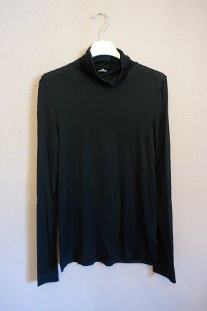 Schwarzes Rollkragenshirt, Shirt, Longsleeve mit Turtleneck, Seide, Arket
