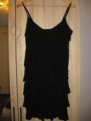 schwarzes Rüschen Kleid mit Spagettiträgern