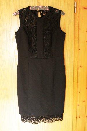 Schwarzes schickes elegantes Bodycon Kleid mit Spitze, Gr. 38