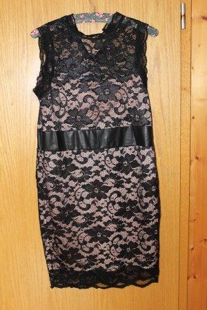 Schwarzes schickes elegantes Bodycon Kleid mit Spitze, Gr. 42