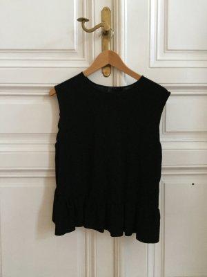 Schwarzes schickes Shirt mit Seitenvolants