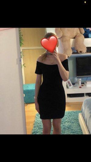 Schwarzes, schulterfreies Kleid