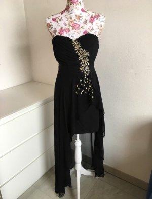 Schwarzes Schulterfreies Vokuhila Kleid