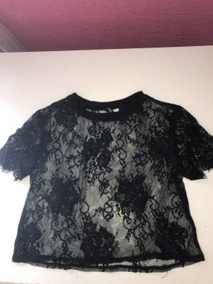 H&M Cropped shirt zwart