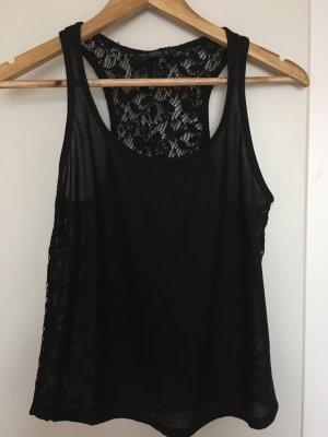schwarzes Shirt aus Spitze und Mash von Bershka